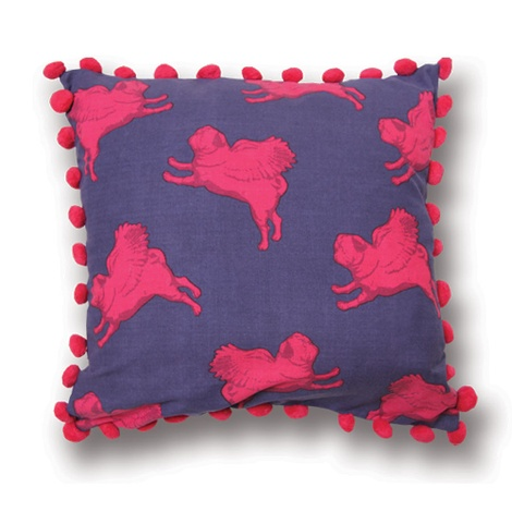 Flying Pug Cushion Cover PomPoms