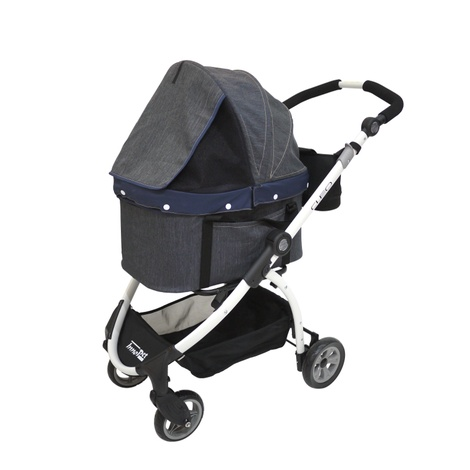 Cleo Denim Pet Buggy with Detachable Carrier