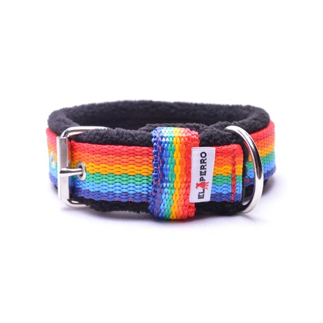 2.5cm width Fleece Comfort Dog Collar – Rainbow