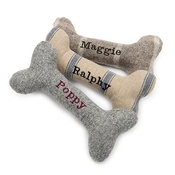 Mutts & Hounds - Grey Tweed Squeaky Bone Toy