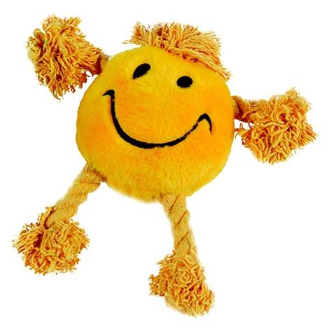 Happy Face Plush Dog Toy – Yellow