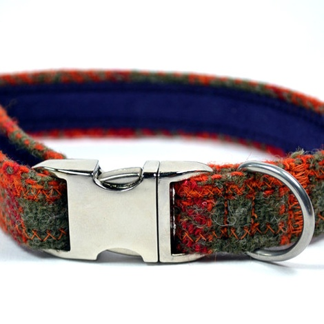 Orange & Olive Harris Tweed Dog Collar 3