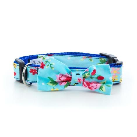 "Blue Vintage Primrose Dog Bow Collar 1"" Width"