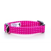"Pet Pooch Boutique - Polka Dot Dog Collar - Pink  1"" Width"