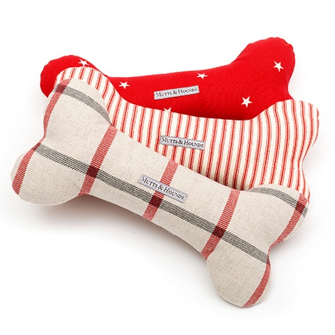 Red Ticking Stripe Bone Toy  2