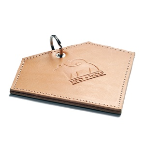 Leather Diamond Poo Bag Pouch - Tan