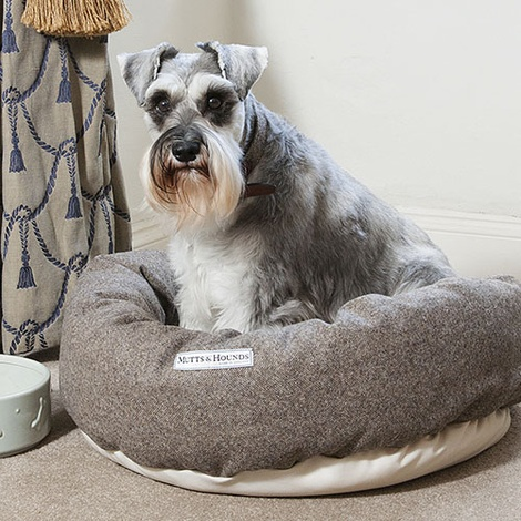 Herringbone Tweed Donut Dog Bed 2