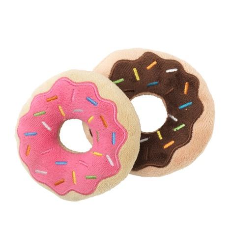 Plush Donut Dog Toy - 2 Pack