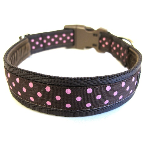 Classic Pink on Brown Polka Dots Dog Collar 2