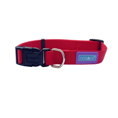 Adjustable Red Nylon Dog Collar