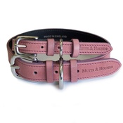 Mutts & Hounds - Heather Leather Dog Collar - Pastel Pink