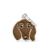 My Family - Dachshund Engraved ID Tag – Brown