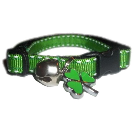 Irish Green Shamrock Cat Collar With Charm