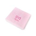 Personalised Baby Pink Bone Dog Towel - Italic font