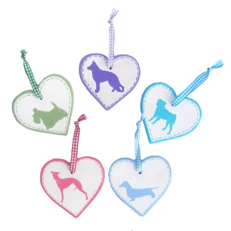 Dog Breed Ceramic Heart - Turquoise 2