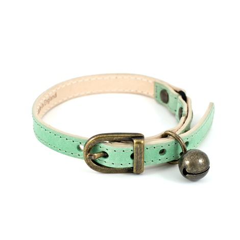 Baby Green Leather Cat Collar 3
