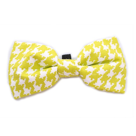 Lime Houndstooth Bow Tie