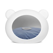 GuisaPet - Medium White Dog Cave with Blue Cushion