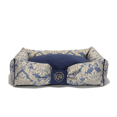 Chien Parisien Dog Bed – Sapphire Blue & Gold 2
