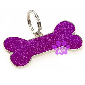 Glitter Bone ID Tag - Purple