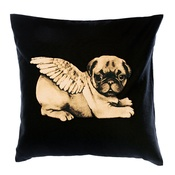 Pugs Might Fly - Biddy Pug Cushion Cover - Black with White Pug