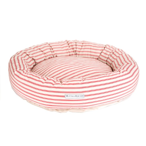 Cranberry Ticking Donut Bed 2