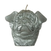 Pugs Might Fly - Winged Pug Candle - Silver
