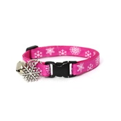 Mog's Togs - Snowflakes Cat Collar - Pink