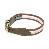 Dogs & Horses - Brown, White & Pink Wide Striped Webbing Collar