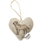 Mutts & Hounds - Dogs Linen Lavender Heart Natural - Labrador