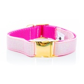 Pet Pooch Boutique - Pink Tweed Sparkle Collar - On Gold