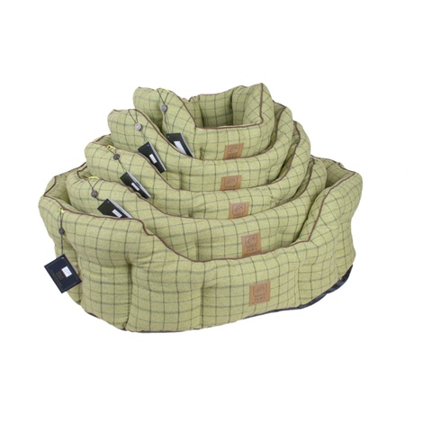Tweed Oval Snuggle Dog Bed – Green 3
