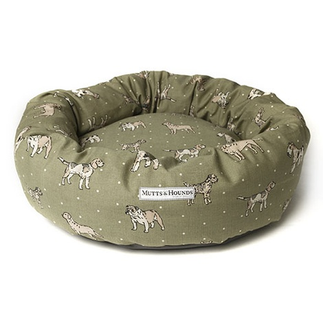 Dogs Linen Donut Bed - Green