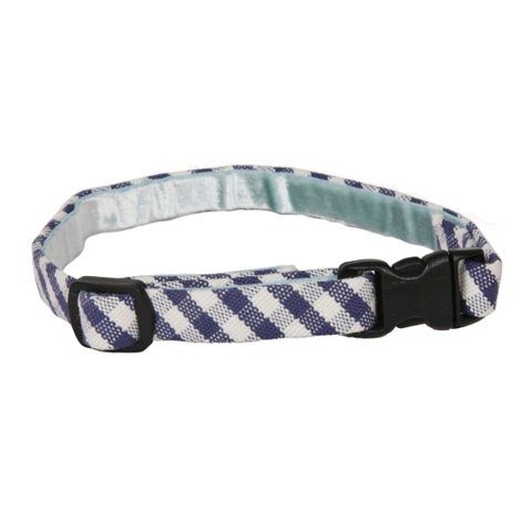 Stripey Blue Gingham Cat Collar