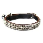 Cool Cat Collars - Jewel Cat Leather Collar - Brown