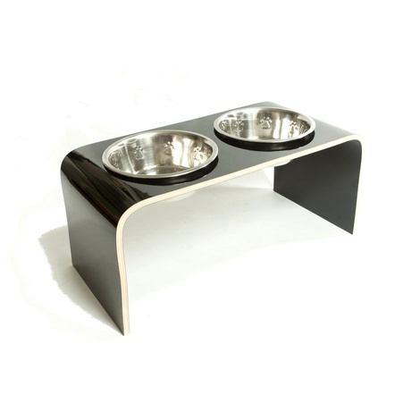 Black Raised Dog Bowl Holder