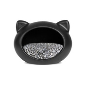 GuisaPet - Black Cat Cave with Animal Print Cushion