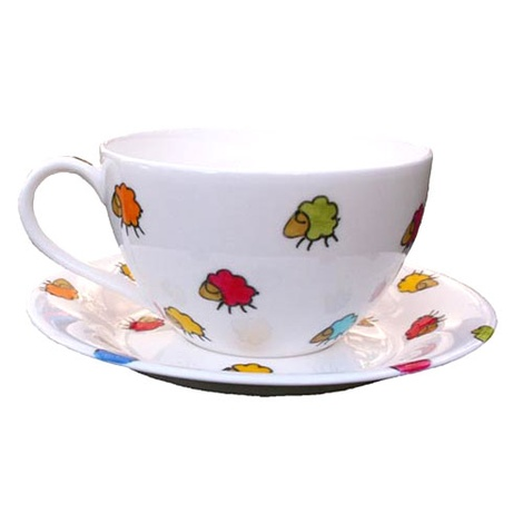 Sheep Print Jumbo Teacup &  Saucer