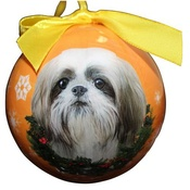 NFP - Tan & White Shih Tzu Puppy Christmas Bauble