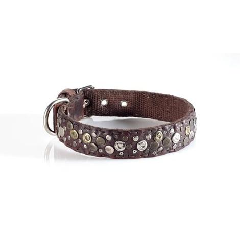 Fashion Dog Collar with Boho Design in Brown 3