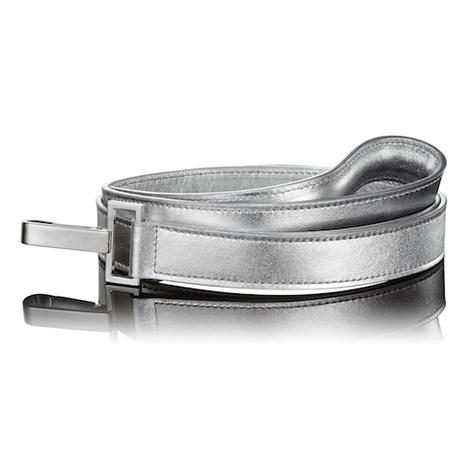 Metallic Silver Leather Dog Lead