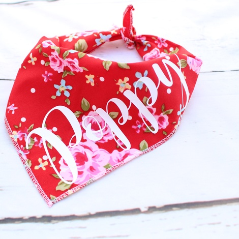 Personalised Red Vintage Dog Bandana