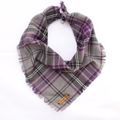 Pet Pooch Boutique - Frayed Buffalo Purple Plaid Dog Bandana