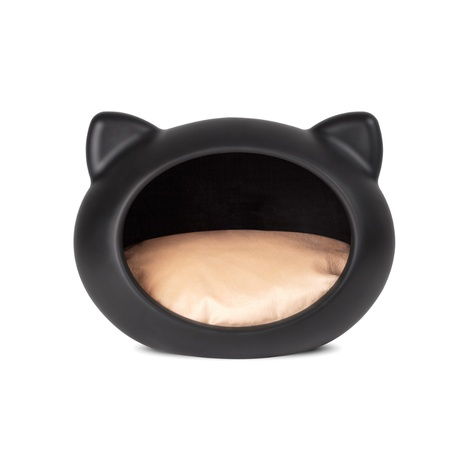 Black Cat Cave with Beige Cushion 2
