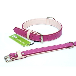 Fusion Pink Leather Dog Collar
