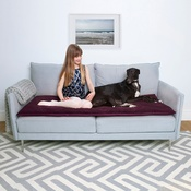 The Lounging Hound - Plush Velvet Sofa Topper - Plum