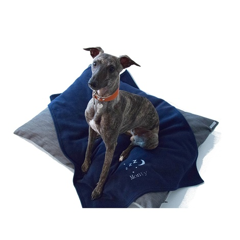 Personalised Navy Snooze Pet Blanket - Classic font
