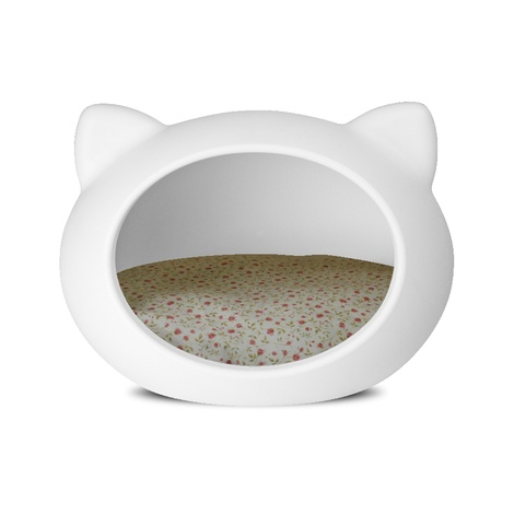 White Cat Cave with Floral Cushion