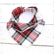 Pet Pooch Boutique - Frayed Alfies Red & White Plaid Dog Bandana