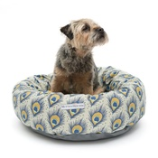 Mutts & Hounds - Peacock Linen Donut Dog Bed